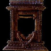 Vintage Wood Tramp Art Picture Frame Folk Art 3D effect