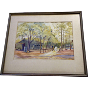 F B Mitchell, Crystal River Florida Watercolor Works on Paper 1945 Signed by Artist