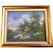 Old America Oil Painting on Canvas in Gold Frame Illegibly Signed
