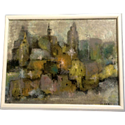 Mosk, Impressionist Cityscape of a Skyline Oil Painting Signed by Artist