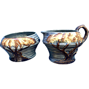 Rare 1930's Carlton Ware Midnight Oak Tree Creamer & Sugar Bowl #1185 Made in England