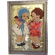 Adorable Reverse Glass Painting 1930's Baby Dolls Boy and Girl Playing, with Tinsel Foil Background Signed by Artist