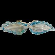 Italian Murano Venetian Art Glass Chandelier Parts Acanthus Style Blue Leaf Stem Light Fixture Sconce Set