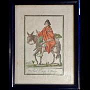 J Laroque, Jacques Grasset De Saint-Sauveur, Costumes de Différents Pays, Marchand d'Orange de Murcie, Etching Print Watercolor Painting Works on Paper