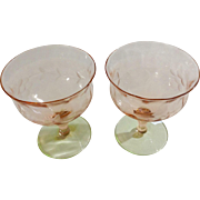 Depression Glass Floral Etched Pink Green Watermelon Stemmed Sorbet Glasses