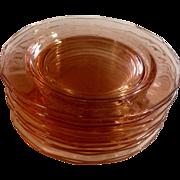 "Vintage Fostoria Fairfax Pink Depression Glass 7 1/2"" Salad Plates Set of 10"