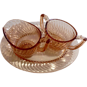 Depression Glass Creamer & Sugar Twisted Optic Pink Imperial Glass Ohio
