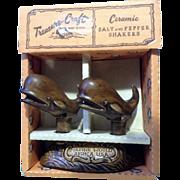 Vintage Treasure Craft Sperm Whales Salt & Pepper Shakers Marine World, Africa Ceramic USA NIB with Original Box