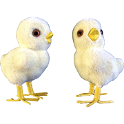 Rare Vintage Josef Originals Adorable Yellow Chicks Flocked Fuzzy with Glass Eyes Ceramic Animal Figurines Made in Japan