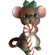 Vintage Josef Originals Adorable Christmas Mouse with a Candy Cane Animal Ceramic Figurine Made in Japan