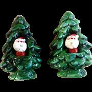 Vintage Christmas Holt Howard Winter Green Salt & Pepper with Santa & Tree 1960 HH Japan Figurines