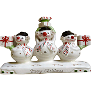Vintage Holt Howard Christmas Snowman With Spaghetti Trim Triple Candle Holder Made in Japan HH Ceramic Figurine
