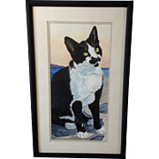 E. W. Boyd, Watercolor Painting Black and White Tabby Cat Portrait with Yellow Eyes Signed by Artist