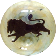Unique Wilkerson Glass Paperweight With Pouncing Lion Signed