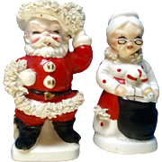 Vintage Mr. and Mrs. Santa Claus Salt and Pepper Shakers Spaghetti Trim Japan Ceramic Figurines