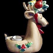 Rare Vintage Josef Originals Adorable Christmas Deer or Elk Candle Holder Ceramic Animal Figurine Made in Japan