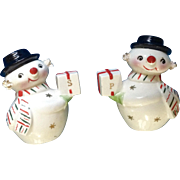 Vintage Holt Howard Salt and Pepper Shakers Christmas Snowman With Spaghetti Trim Made in Japan HH Ceramic Figurines