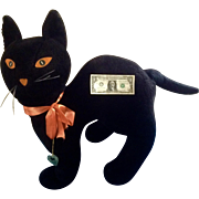 Vintage Huge Store Display Scaredy Cat Stuffed Plush Black Animal Metropolitan Quality Accented Toy Fur Company New York