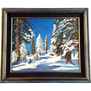 Gunn, Snow Covered Trees in a Pine Forest Oil Painting on Canvas Signed by Artist