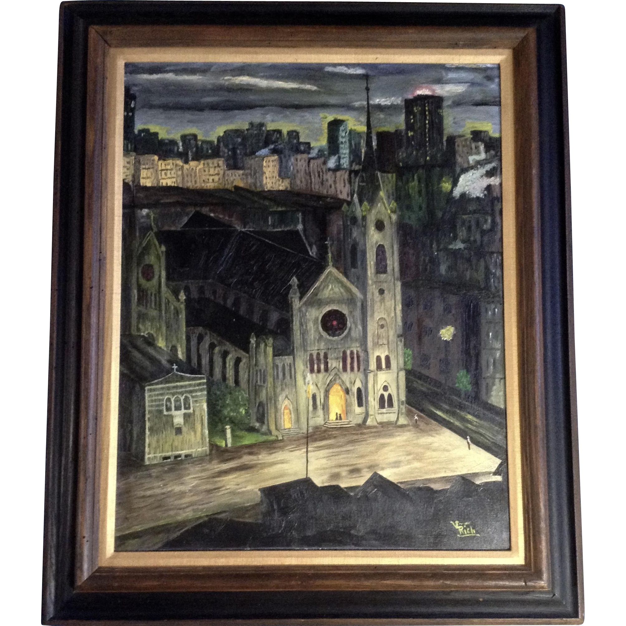 Old Room At Dusk: Vivian Lester Rich (1918-2001), Cityscape Old Cathedral At