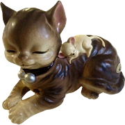 Vintage Josef Originals Adorable Sleeping Kitty Cat and Mouse Animal Ceramic Figurine Made in Japan