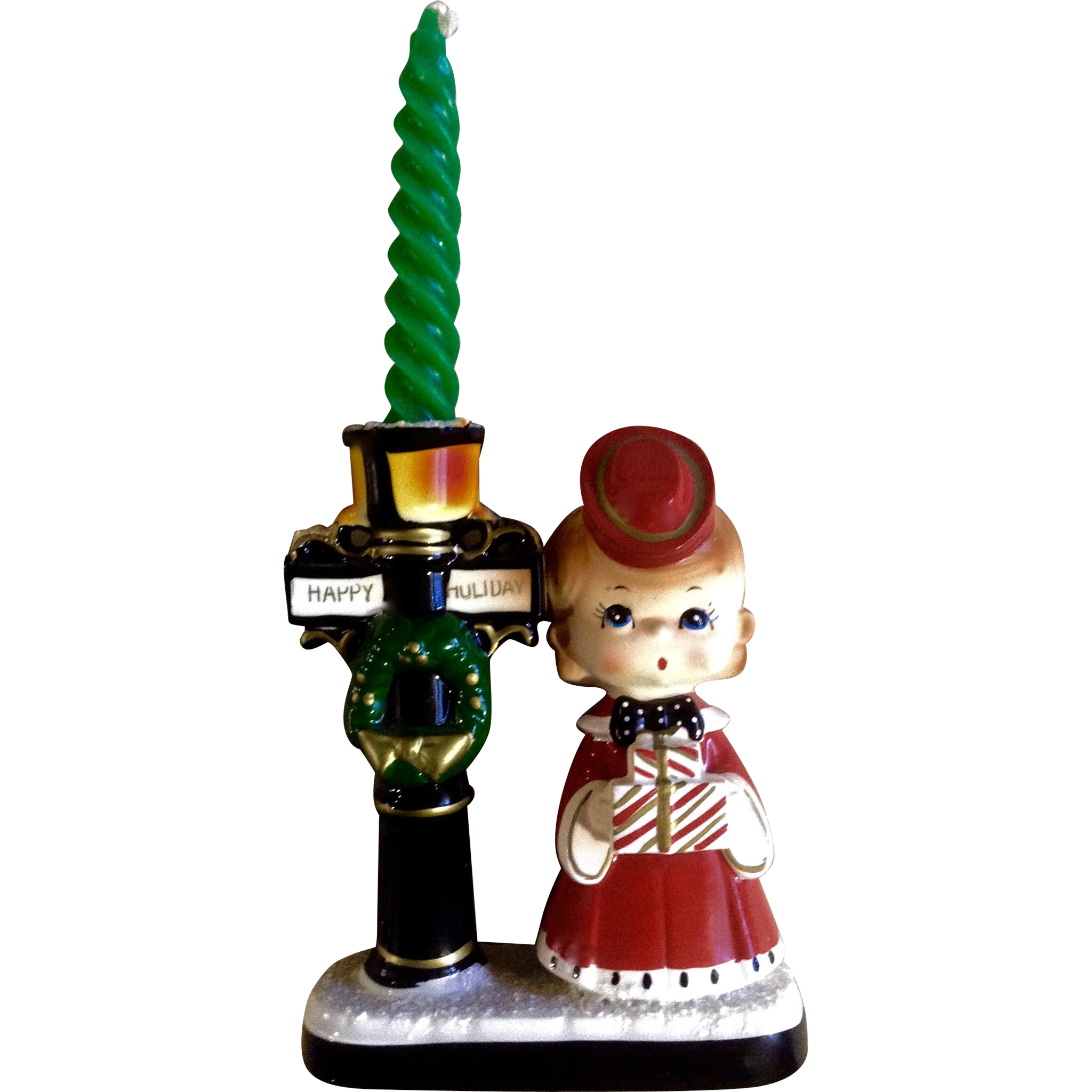 Singing Carolers Candleholders Figurines Vintage By: Blume The Christmas Corner, Happy Holiday Candle Stick