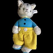 Vintage Character Anthropomorphic Cat Novelty Plush Stuffed Animal Toy