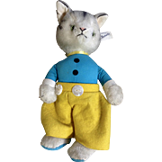 Vintage Character Anthropomorphic Cat Novelty Plush Stuffed Animal Toy