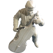 Discontinued Vintage Concerto Cellist Department 56 Winter Silhouettes Bisque Porcelain Figurine 6-1/2""