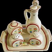 Retro Japan Floral Salt & Pepper Shakers, Vinegar, Jelly Jar & Tray Ceramic Condiment Set