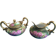 T & V Limoges Tressemanes and Vogt Signed by Artist Hand Painted Cream & Covered Sugar Bowl Set Early 1900's Pink Roses