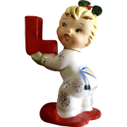 Napco Christmas Noel Girl Candle Holder Ceramic Figurine Single Letter L for Xmas Sign