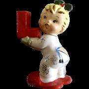 Napco Christmas Noel Girl Candle Holder Ceramic Figurine Single Letter L for Xmas Sign