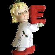 Napco Christmas Noel Girl Candle Holder Ceramic Figurine Single Letter E for Xmas Sign