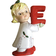 Napco Christmas Noel Girl Candle Holder Ceramic Figurine Single Letter E for Xmas Sign