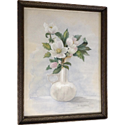 Dora Washburn, Still Life Magnolia Floral Watercolor Painting and Carte De Visite CDV Photograph Works on Paper Signed by Artist