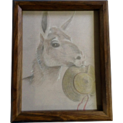 D. M. Davas, Stubborn Llama Eating a Straw Hat Works on Paper Mixed Media Painting Signed by Artist