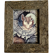 Vintage Adorable Chipmunk in a Log Off Set Lithograph Print in an Old Barn Wood Frame