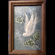 Vintage Christmas Dove Glitter Card in 1930's-1940's Wooden Frame
