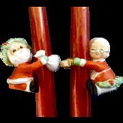 Vintage Napco Japan Miniature Santa & Mrs. Claus Ceramic Candle Huggers With Spaghetti Trim.