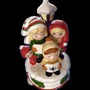 Vintage Christmas Carolers Music Box Ceramic Silent Night 4 Children Hand Painted