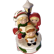 Vintage Christmas Carolers Music Box Ceramic Silent Night 4 Children Hand Painted