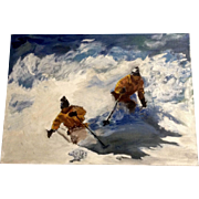 Beautiful Downhill Skiers in Powder Fresh Snow Oil Painting on Canvas Board