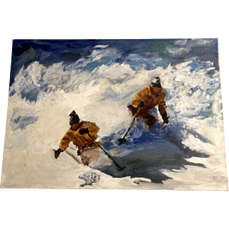 Beautiful Down Hill Skiers Oil Painting on Canvas Board