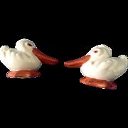 Vintage Long Beak Duck Salt & Pepper Shakers Ceramic Hand Painted Made in Japan Bird Figurines