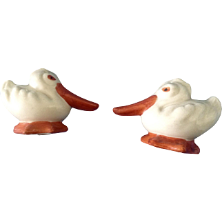 Vintage Long Beak Duck Salt & Pepper Shakers Ceramic Hand Painted Made in Japan Figurines
