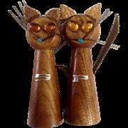 Vintage Wood Long Neck Cat Salt & Pepper Shakers Mid- Century Figurines
