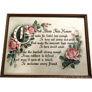 God Bless This House Prayer Pink Roses Watercolor Painting Works on Paper Unsigned
