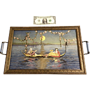 Art Nouveau Serving Tray Venetian Gondola Serenade in Moonlight