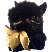 Adorable Vintage Black Cat Halloween,  Doll Pet 1930-1950s Real Rabbit Fur Stuffed Plush Glass Eyes